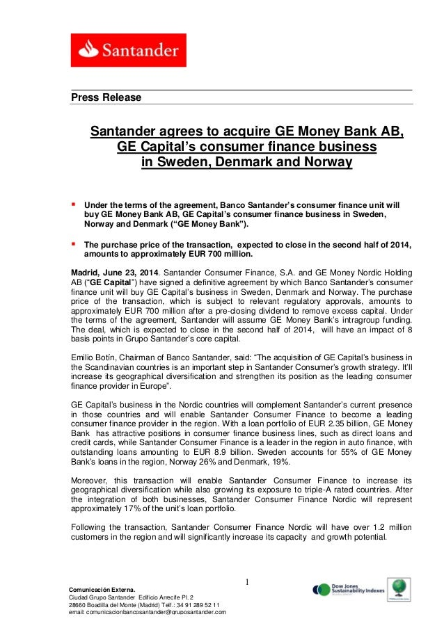 Santander Agrees To Acquire GE Money Bank AB, GE Capital's