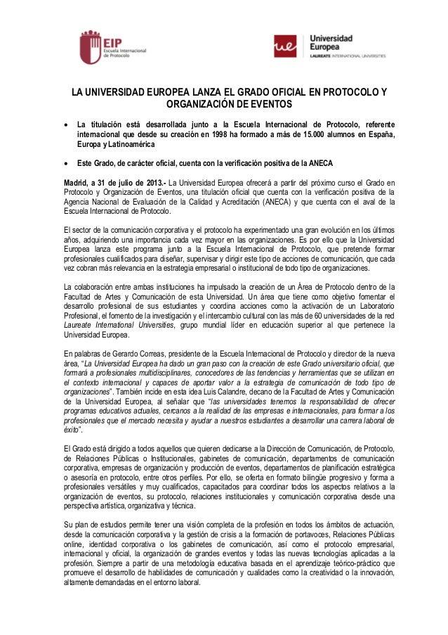 Nota De Prensa Grado Protocolo Organizacion Eventos Ue Eip