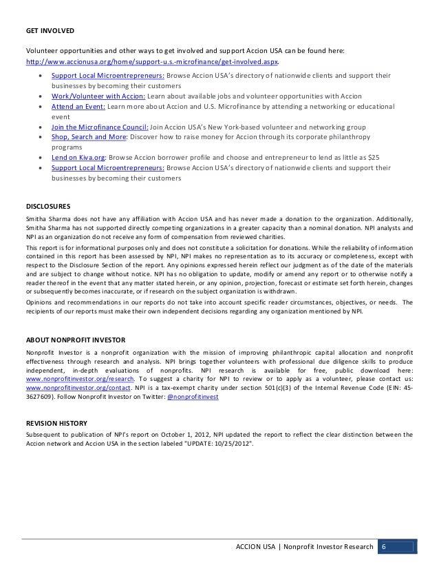 NPI Evaluation of Accion USA