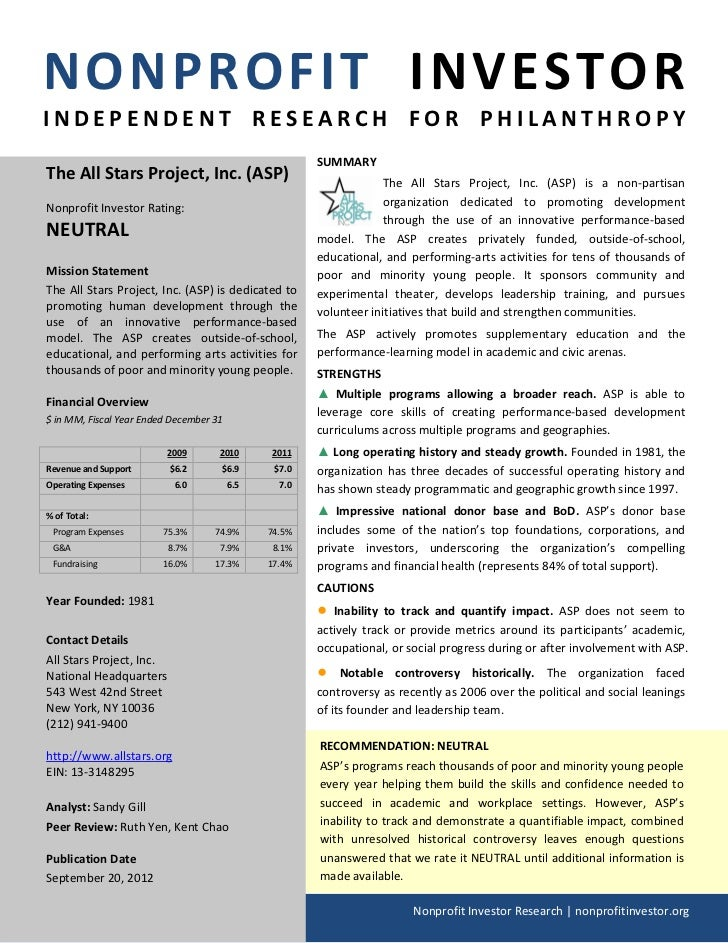 NONPROFIT INVESTORINDEPENDENT RESEARCH FOR PHILANTHROPY                                                       SUMMARYThe A...