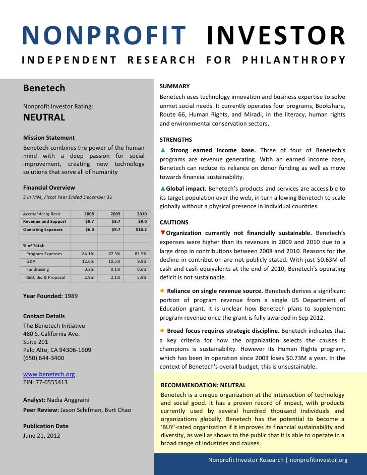 NONPROFIT INVESTORINDEPENDENT RESEARCH FOR PHILANTHROPYBenetech                                            SUMMARY        ...
