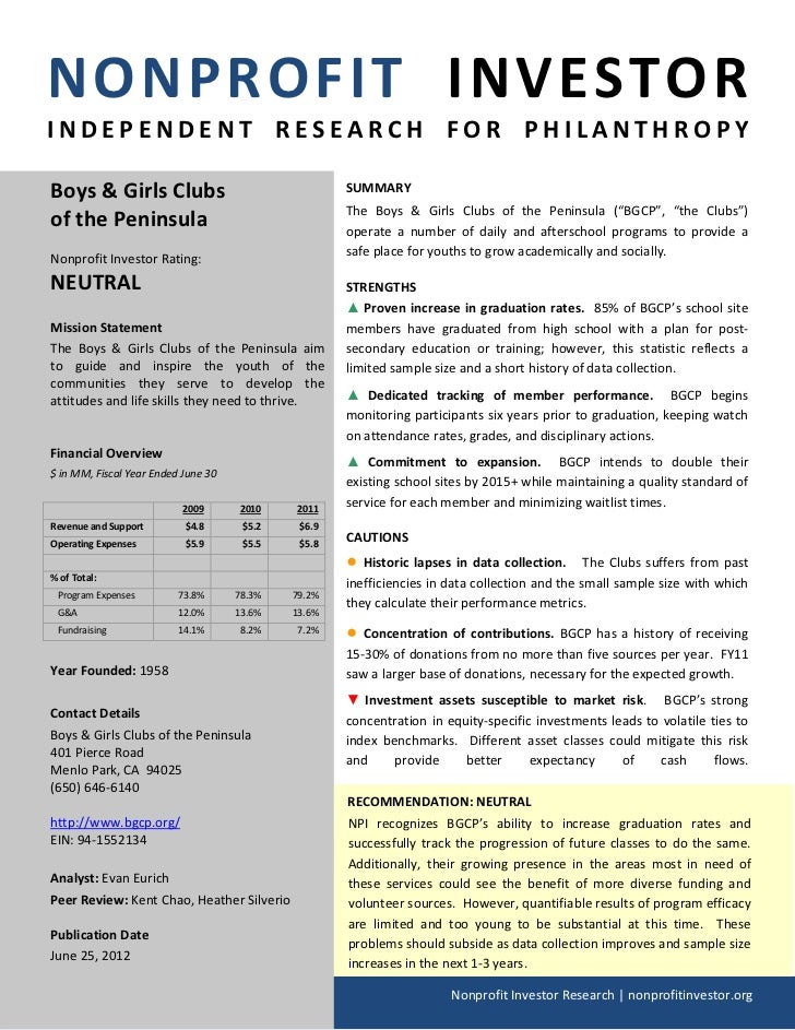 NONPROFIT INVESTORINDEPENDENT RESEARCH FOR PHILANTHROPYBoys & Girls Clubs                                   SUMMARY       ...