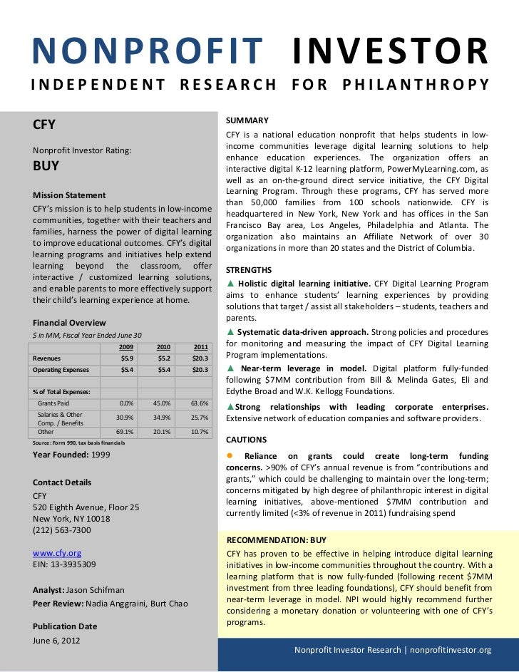 NONPROFIT INVESTORINDEPENDENT RESEARCH FOR PHILANTHROPYCFY                                                        SUMMARY ...
