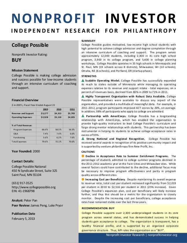 NONPROFIT INVESTORINDEPENDENT RESEARCH FOR PHILANTHROPY                                                           SUMMARYC...