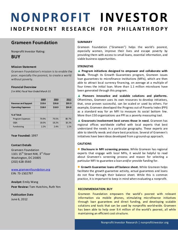 NONPROFIT INVESTORINDEPENDENT RESEARCH FOR PHILANTHROPYGrameen Foundation                                    SUMMARY      ...