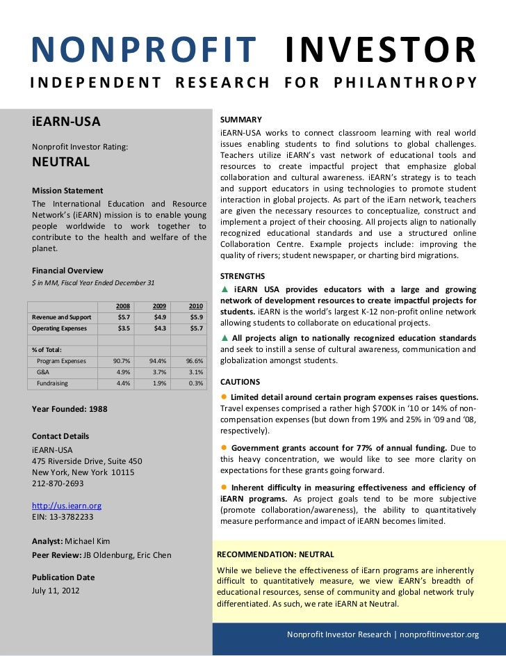 NONPROFIT INVESTORINDEPENDENT RESEARCH FOR PHILANTHROPYiEARN-USA                                           SUMMARY        ...