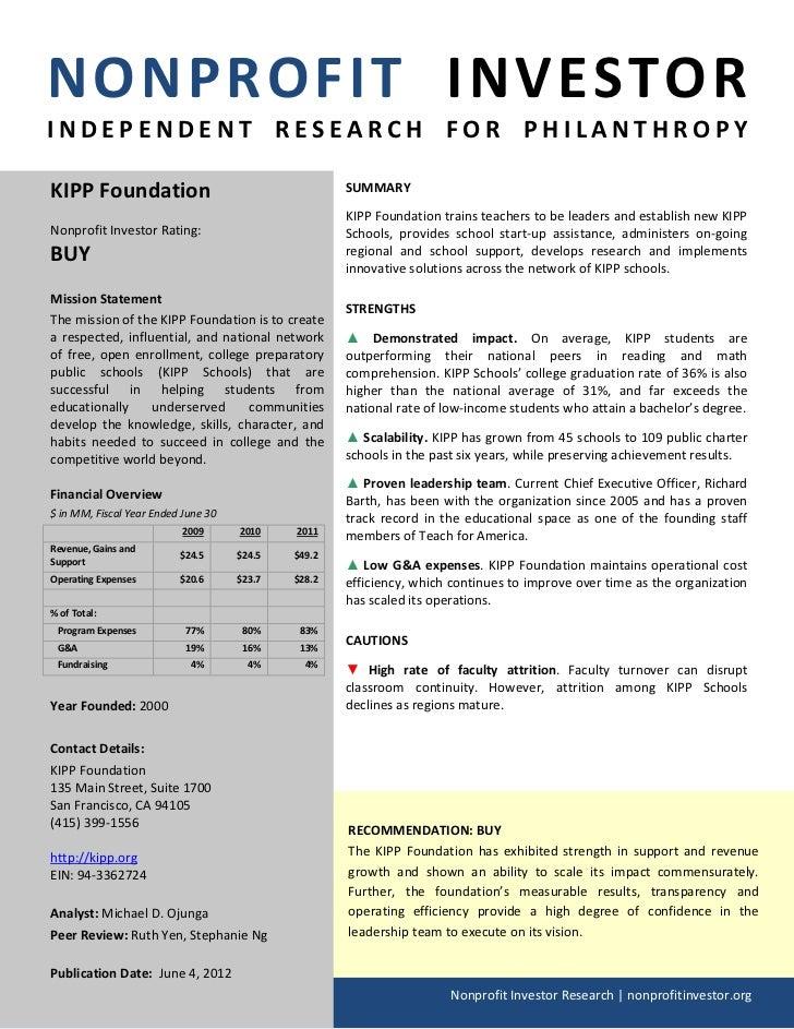 NONPROFIT INVESTORINDEPENDENT RESEARCH FOR PHILANTHROPYKIPP Foundation                                      SUMMARY       ...