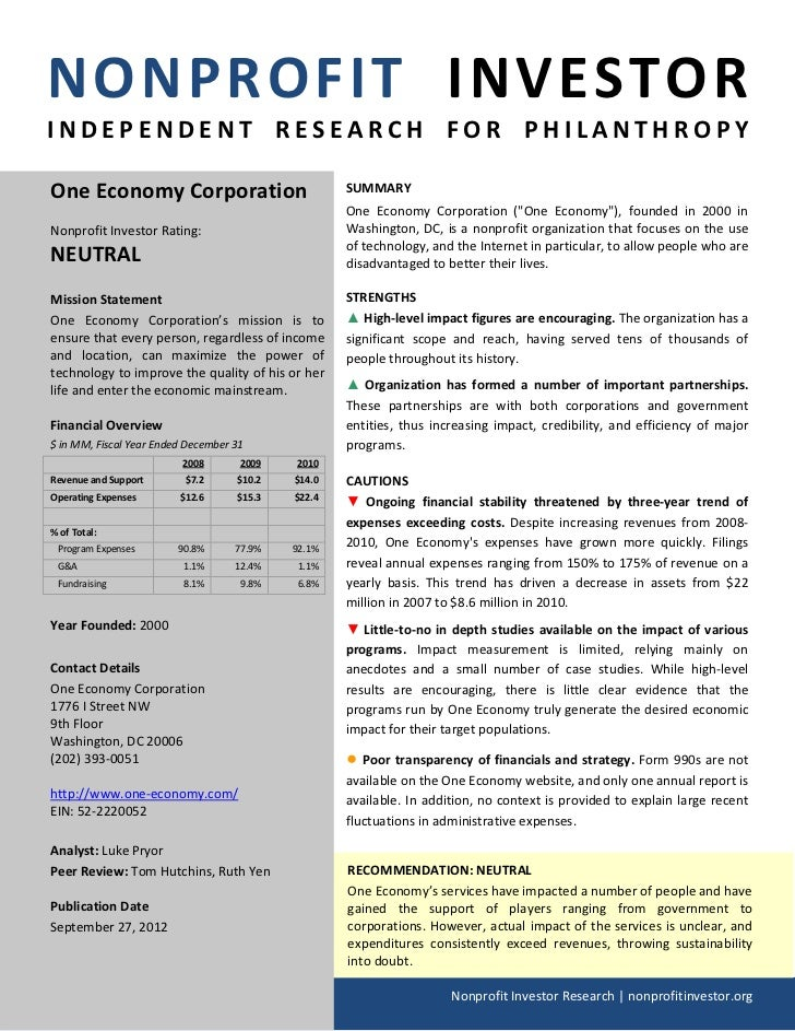 NONPROFIT INVESTORINDEPENDENT RESEARCH FOR PHILANTHROPYOne Economy Corporation                             SUMMARY        ...