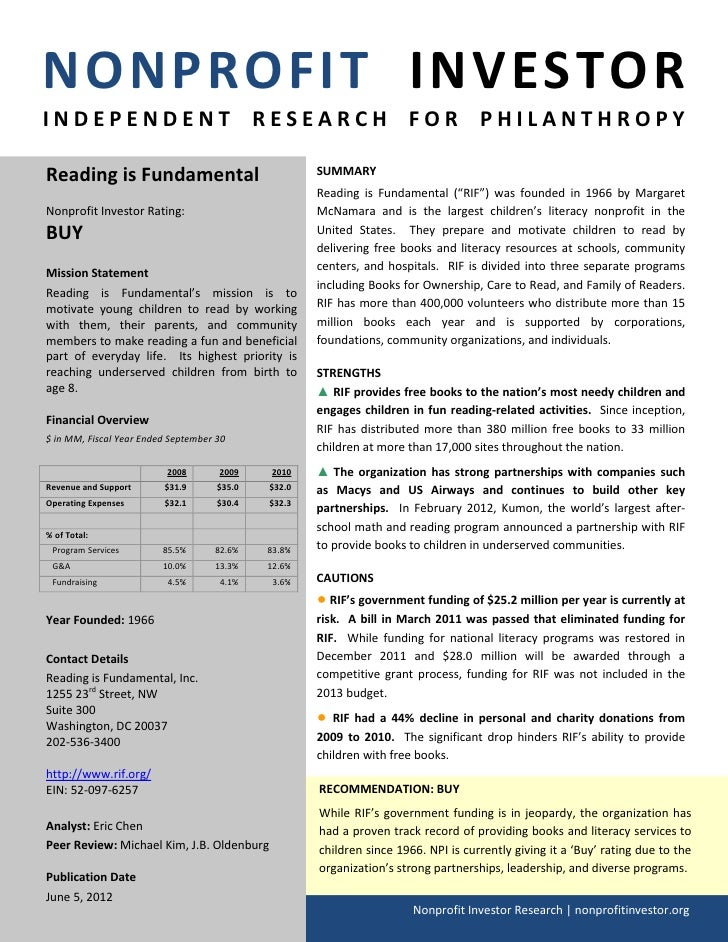 NONPROFIT INVESTORINDEPENDENT RESEARCH FOR PHILANTHROPYReading is Fundamental                               SUMMARY       ...