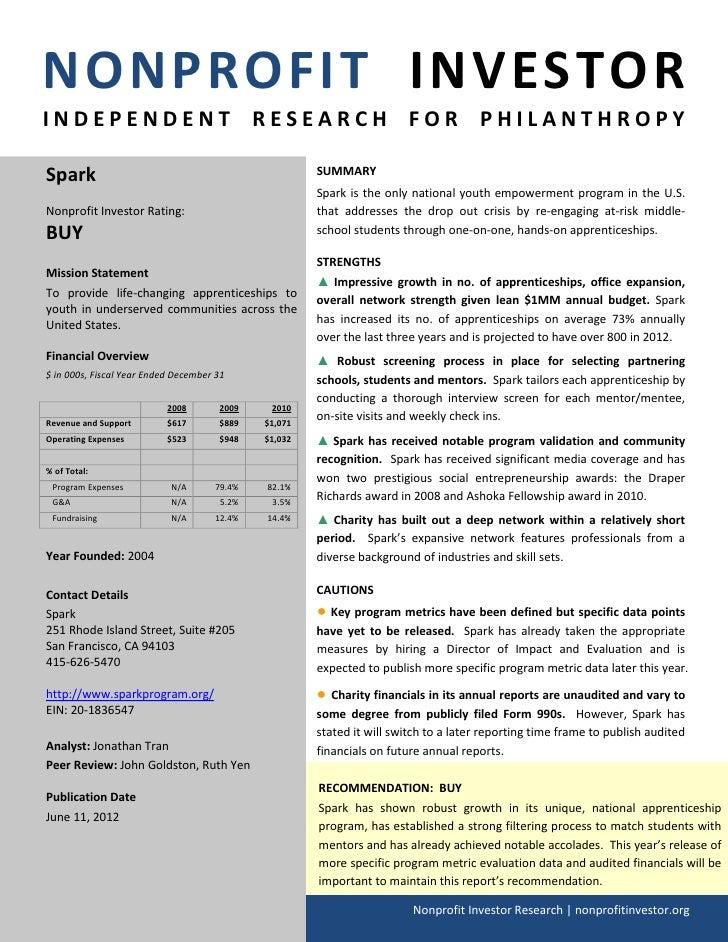 NONPROFIT INVESTORINDEPENDENT RESEARCH FOR PHILANTHROPYSpark                                                 SUMMARY      ...