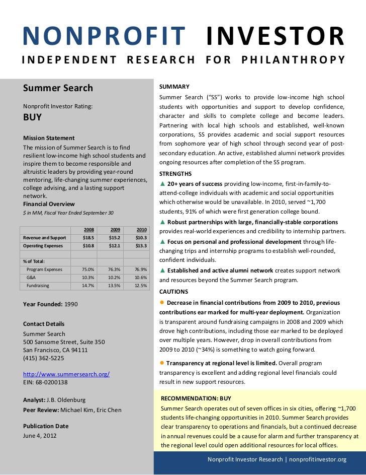 NONPROFIT INVESTORINDEPENDENT RESEARCH FOR PHILANTHROPYSummer Search                                        SUMMARY       ...