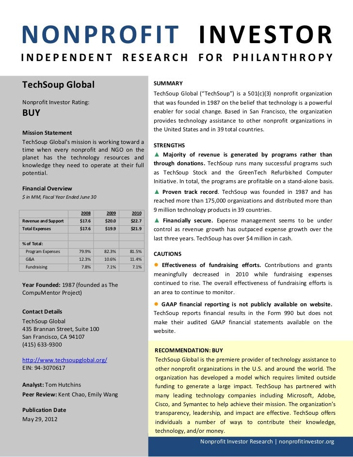 NONPROFIT INVESTORINDEPENDENT RESEARCH FOR PHILANTHROPYTechSoup Global                                      SUMMARY       ...