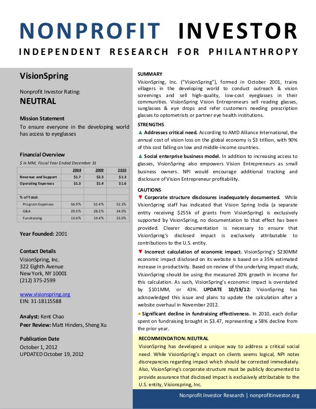 NONPROFIT INVESTORINDEPENDENT RESEARCH FOR PHILANTHROPYVisionSpring                                        SUMMARY        ...