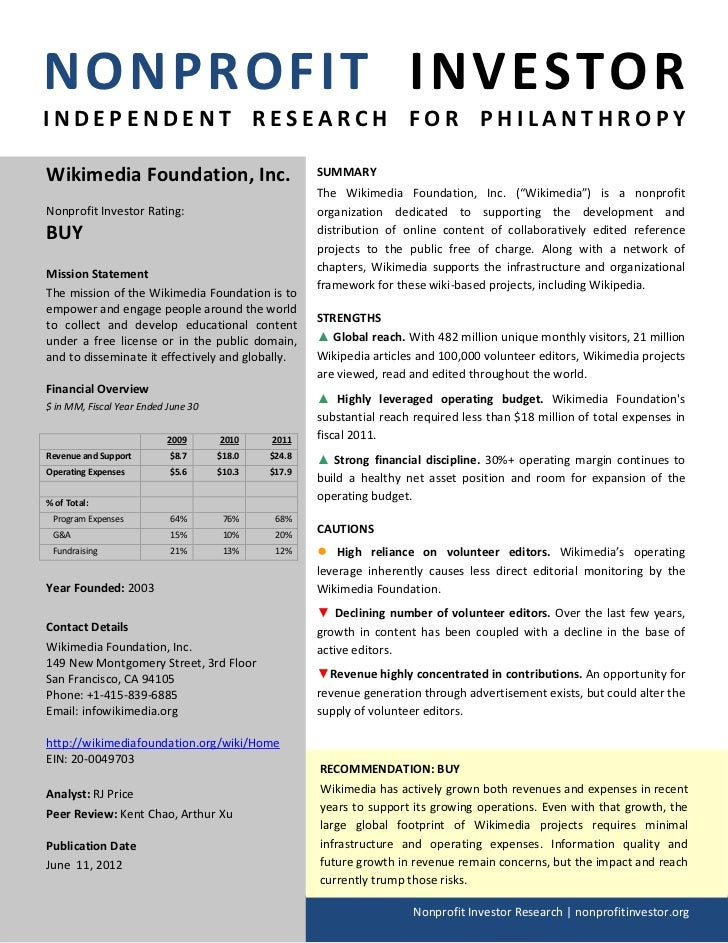 NONPROFIT INVESTORINDEPENDENT RESEARCH FOR PHILANTHROPYWikimedia Foundation, Inc.                           SUMMARY       ...