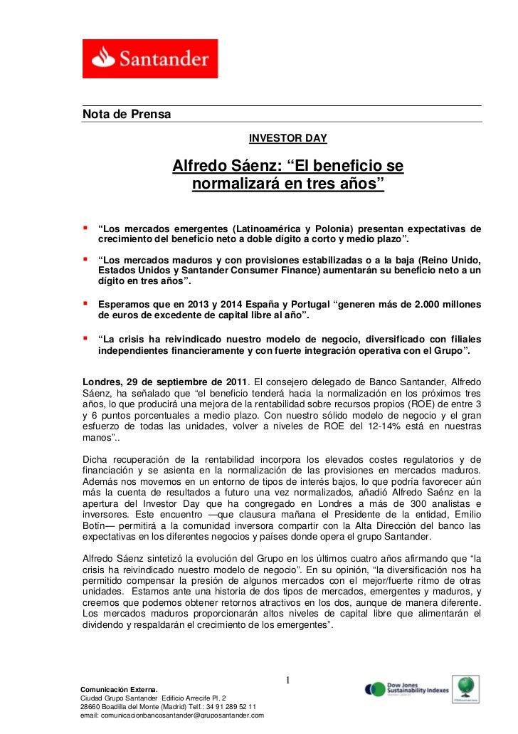 """Nota de Prensa                                                   INVESTOR DAY                            Alfredo Sáenz: """"E..."""