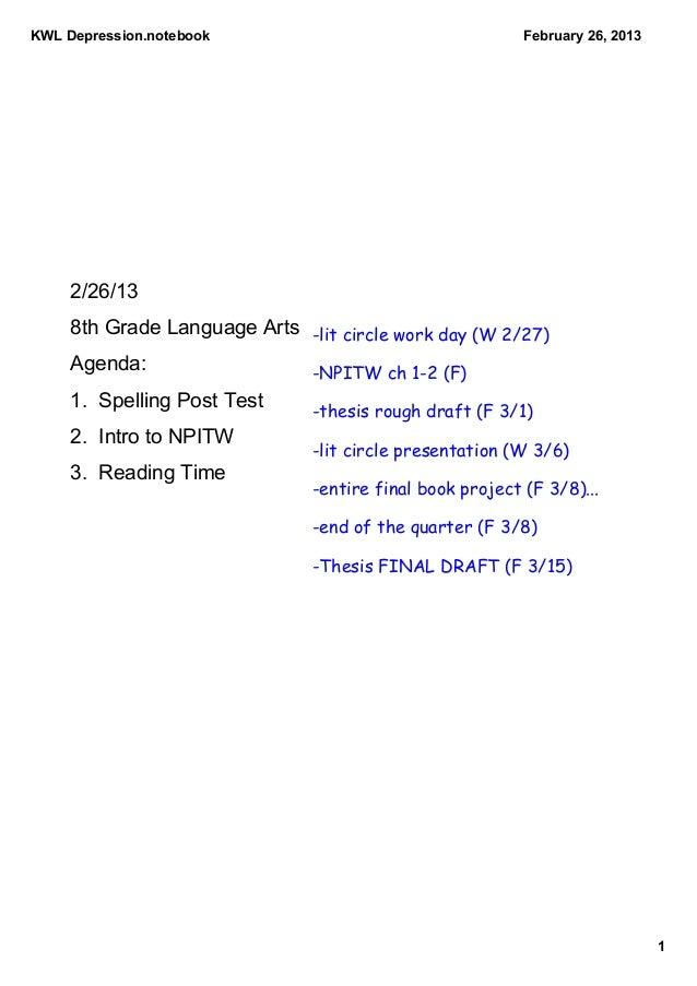 KWLDepression.notebook                                   February26,2013     2/26/13     8thGradeLanguageArts -lit c...