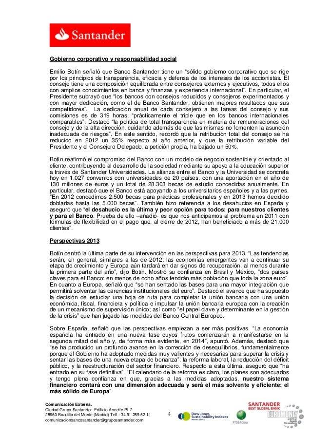 """Gobierno corporativo y responsabilidad social  Emilio Botín señaló que Banco Santander tiene un """"sólido gobierno corporati..."""