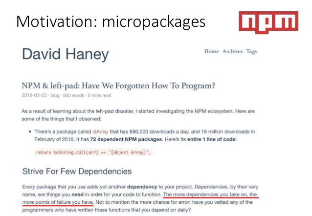 Motivation: micropackages