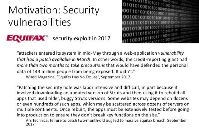 """Motivation: Security vulnerabilities security exploit in 2017 """"attackers entered its system in mid-May through a web-appli..."""