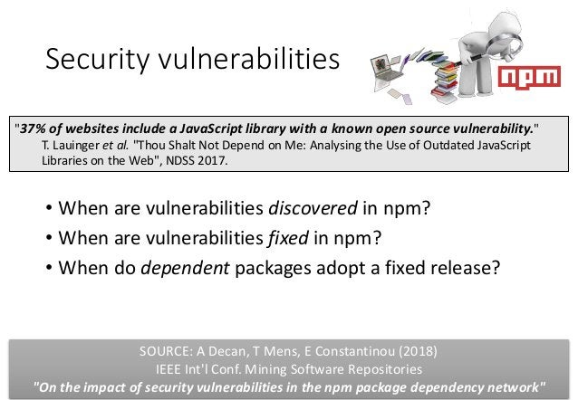 Security vulnerabilities • When are vulnerabilities discovered in npm? • When are vulnerabilities fixed in npm? • When do ...
