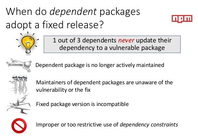 When do dependent packages adopt a fixed release? 1 out of 3 dependents never update their dependency to a vulnerable pack...
