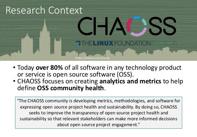 Research Context • Today over 80% of all software in any technology product or service is open source software (OSS). • CH...