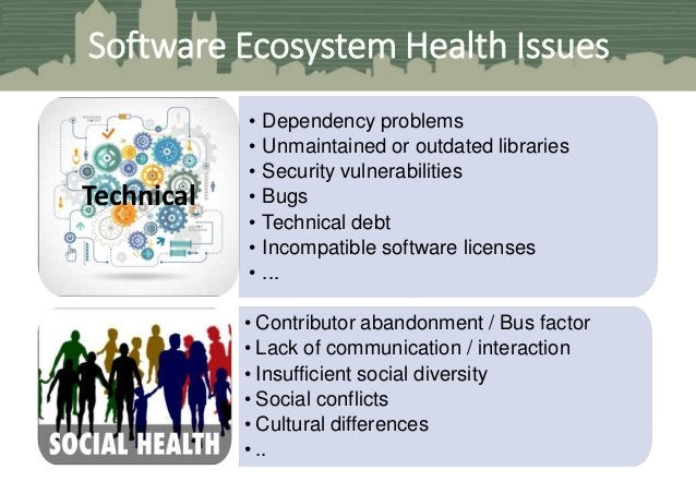 • Dependency problems • Unmaintained or outdated libraries • Security vulnerabilities • Bugs • Technical debt • Incompatib...
