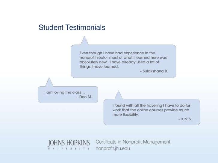 Johns Hopkins University Nonprofit Management Program 9.5.12