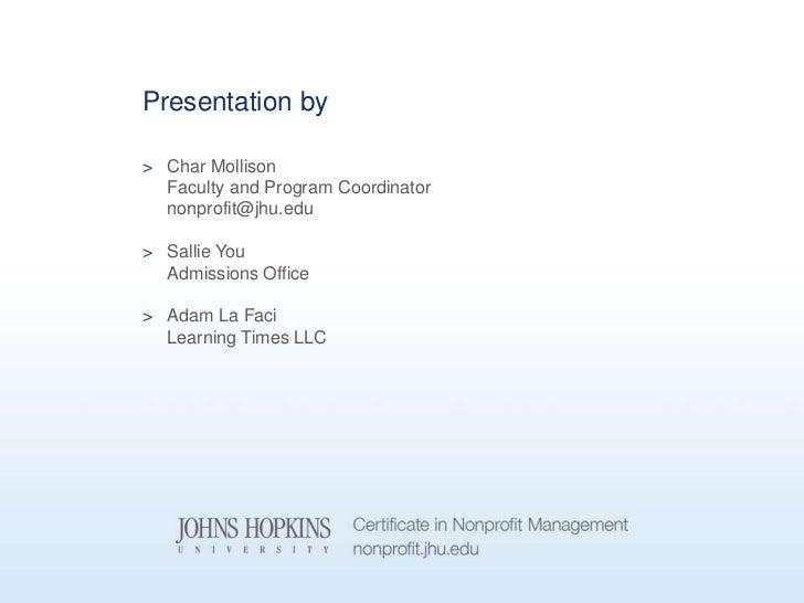 Johns Hopkins University Nonprofit Management Program 9 5 12