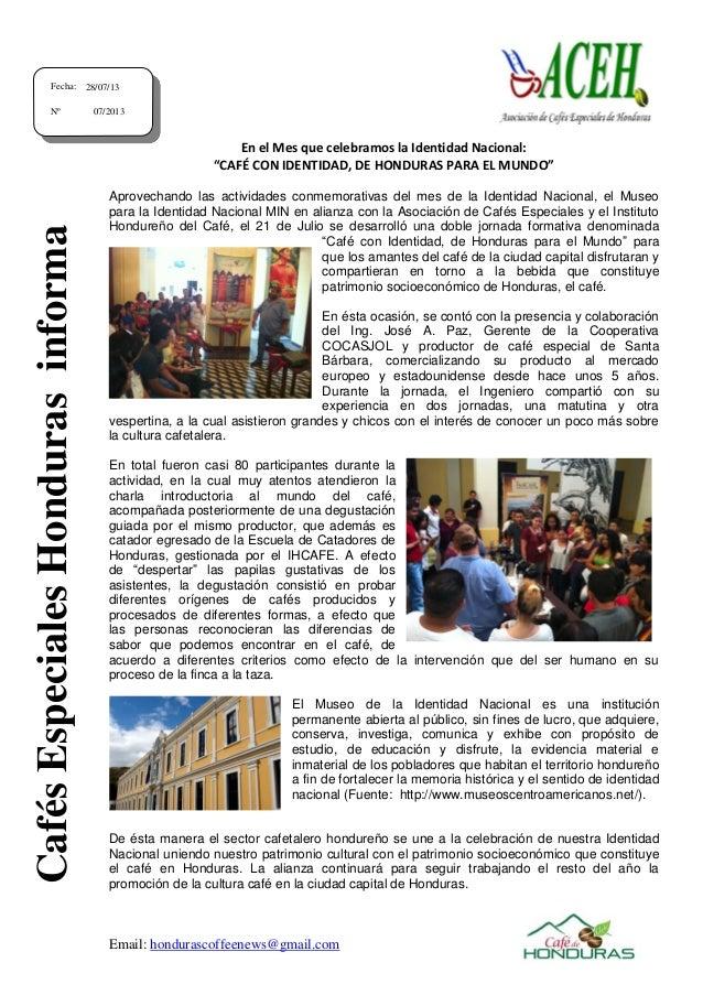"""Email: hondurascoffeenews@gmail.com En el Mes que celebramos la Identidad Nacional: """"CAFÉ CON IDENTIDAD, DE HONDURAS PARA ..."""