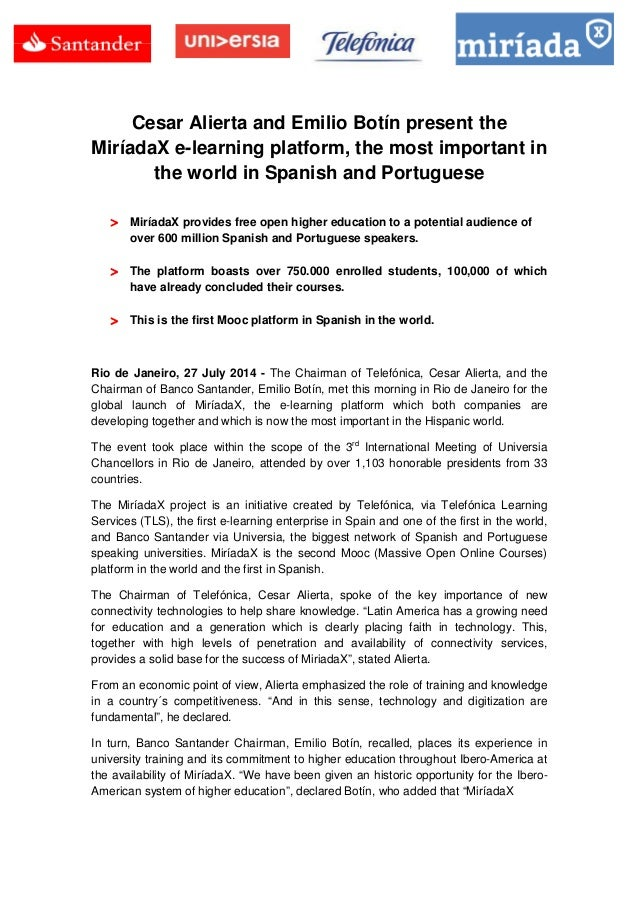 Cesar Alierta and Emilio Botín present the MiríadaX e-learning platform, the most important in the world in Spanish and Po...