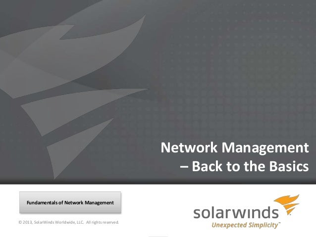 Network Management                                                                – Back to the Basics    Fundamentals of ...