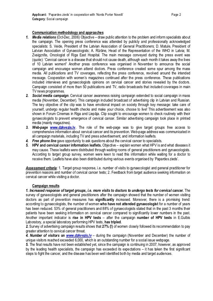 Applicant: 'Papardes zieds' in cooperation with 'Nords Porter Novelli'                           Page 2    Category: Socia...