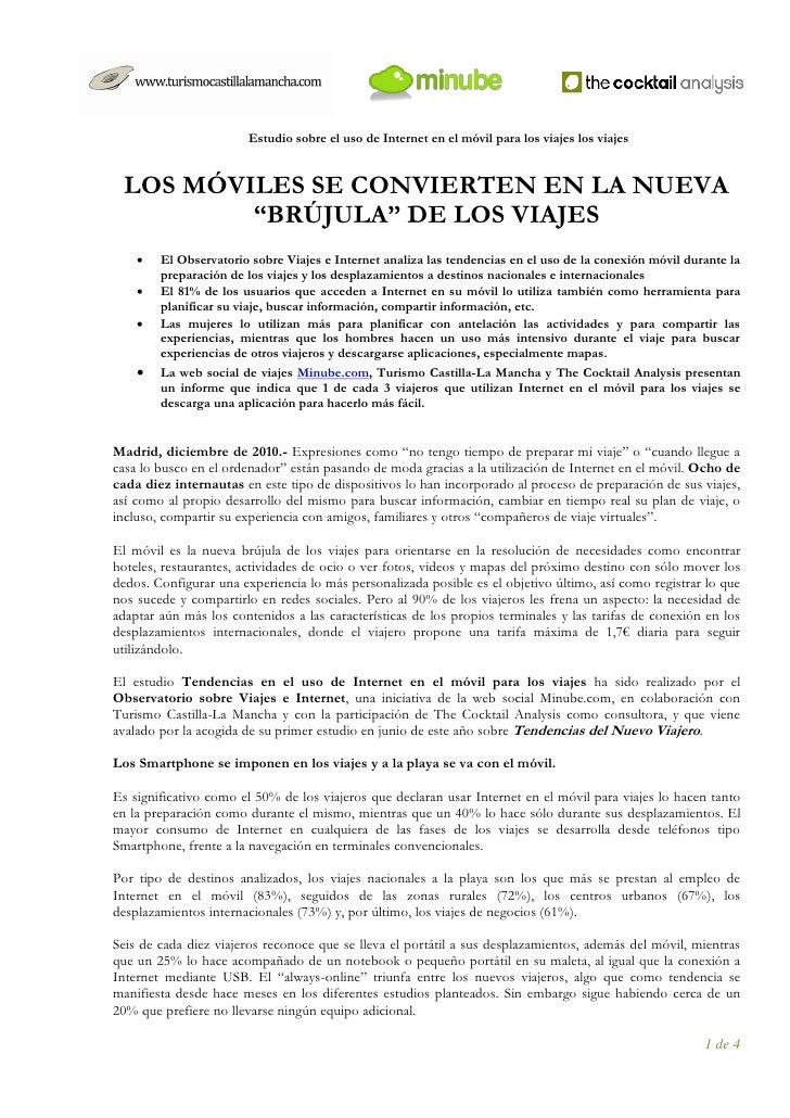 """Estudio sobre el uso de Internet en el móvil para los viajes los viajes LOS MÓVILES SE CONVIERTEN EN LA NUEVA         """"BRÚ..."""