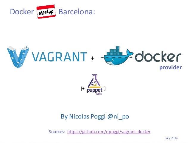 By Nicolas Poggi @ni_po provider July, 2014 Sources: https://github.com/npoggi/vagrant-docker Docker Barcelona: + [+ ]