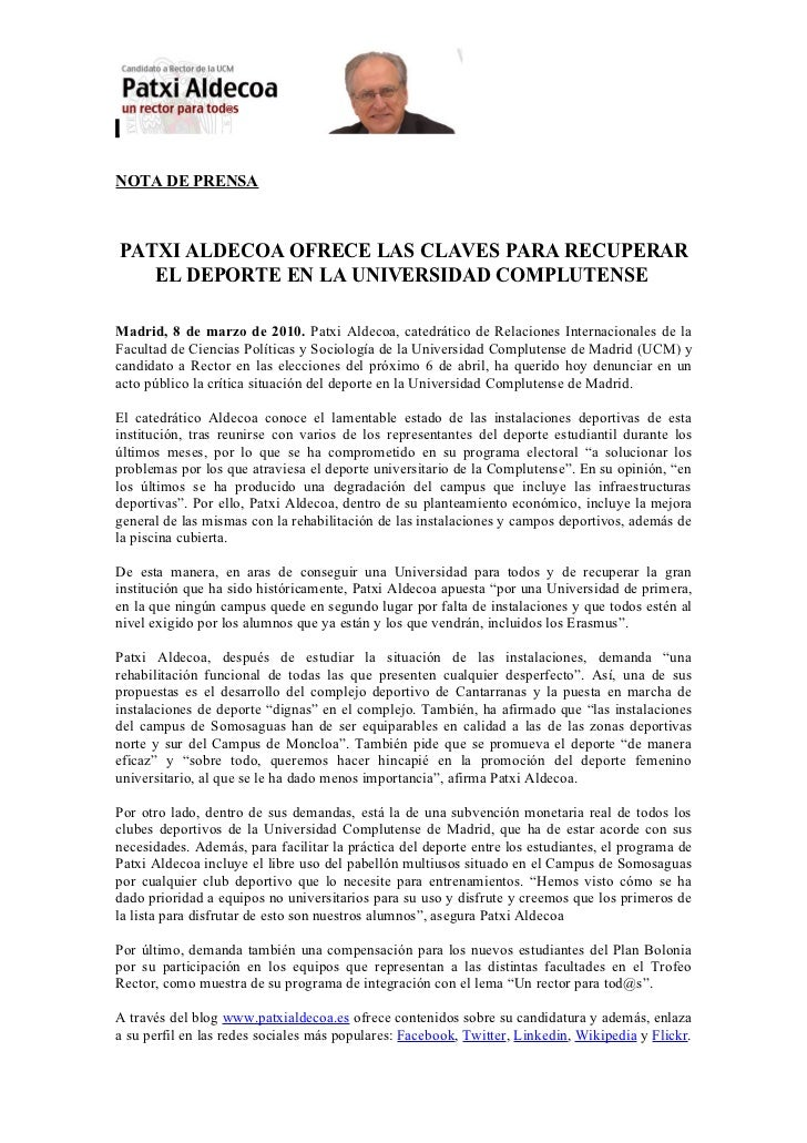 NOTA DE PRENSAPATXI ALDECOA OFRECE LAS CLAVES PARA RECUPERAR   EL DEPORTE EN LA UNIVERSIDAD COMPLUTENSEMadrid, 8 de marzo ...