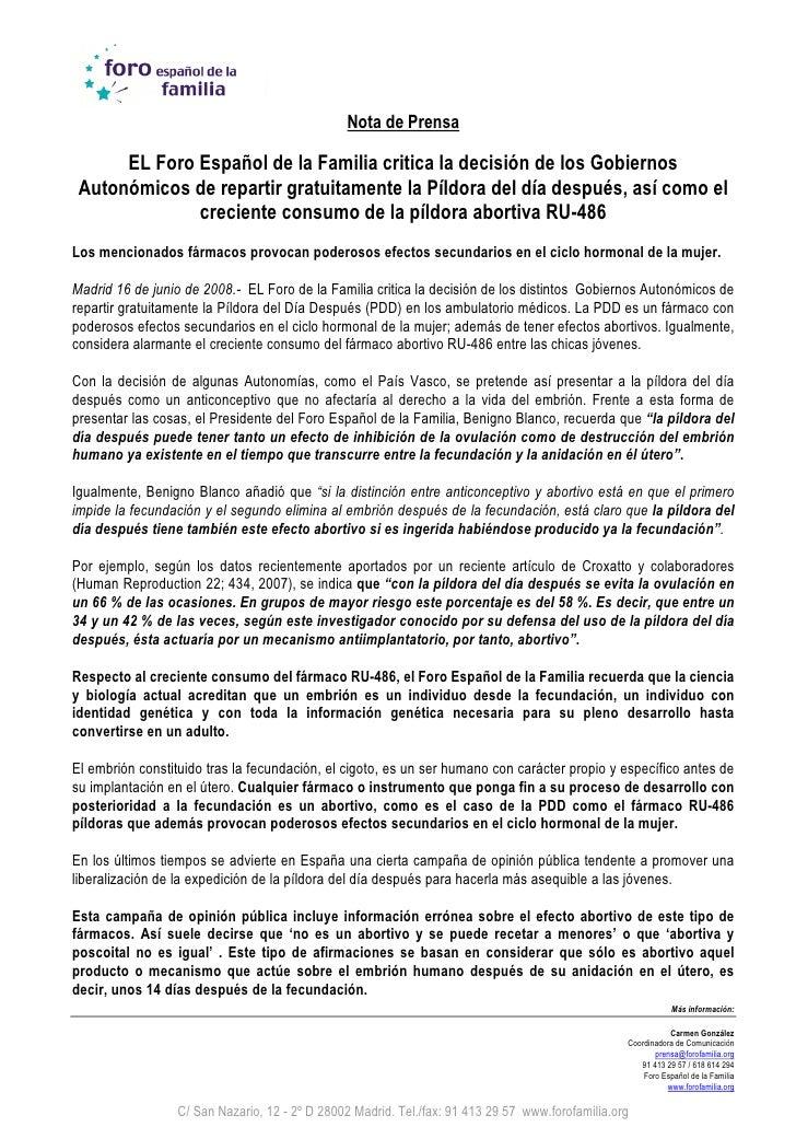 Nota de Prensa        EL Foro Español de la Familia critica la decisión de los Gobiernos  Autonómicos de repartir gratuita...
