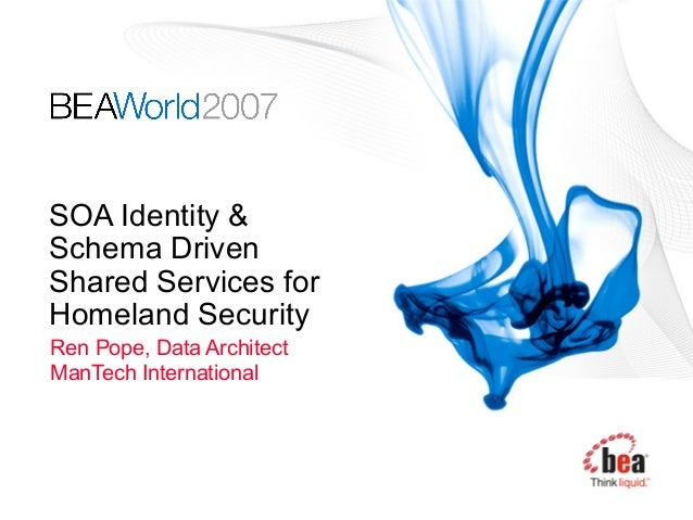 SOA Identity & Schema Driven Shared Services for Homeland Security Ren Pope, Data Architect ManTech International