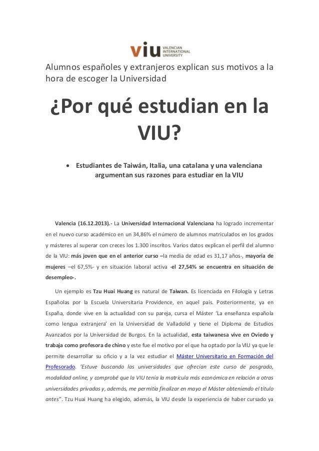 Alumnos españoles y extranjeros explican sus motivos a la hora de escoger la Universidad  ¿Por qué estudian en la VIU? • E...