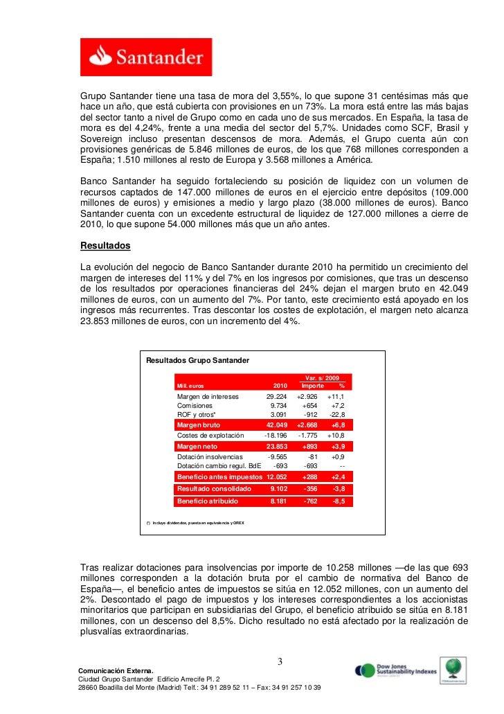 Grupo Santander tiene una tasa de mora del 3,55%, lo que supone 31 centésimas más quehace un año, que está cubierta con pr...