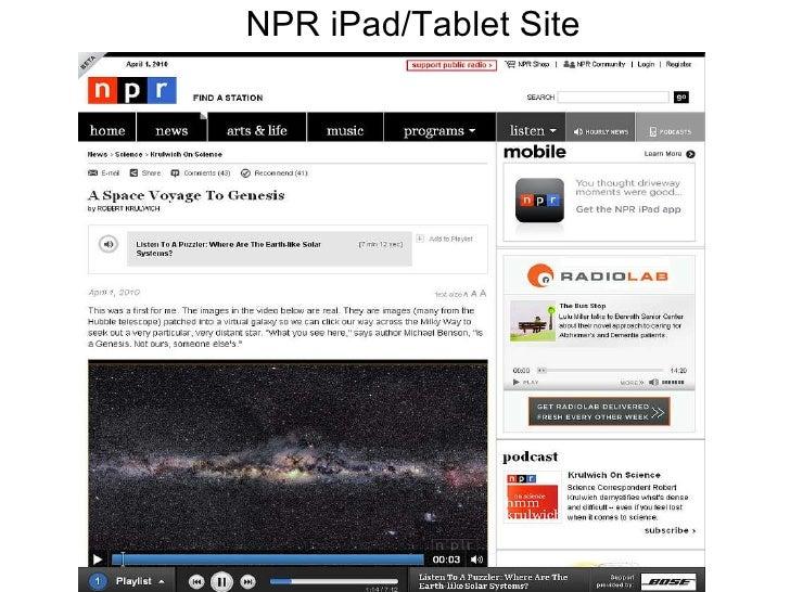 NPR iPad/Tablet Site