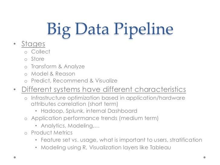 Big Data Pipeline• Stages   o   Collect   o   Store   o   Transform & Analyze   o   Model & Reason   o   Predict,...