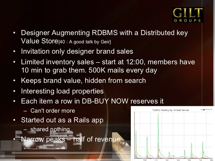 • Designer Augmenting RDBMS with a Distributed key   Value Store[40 : A good talk by Geir]• Invitation only designer bra...