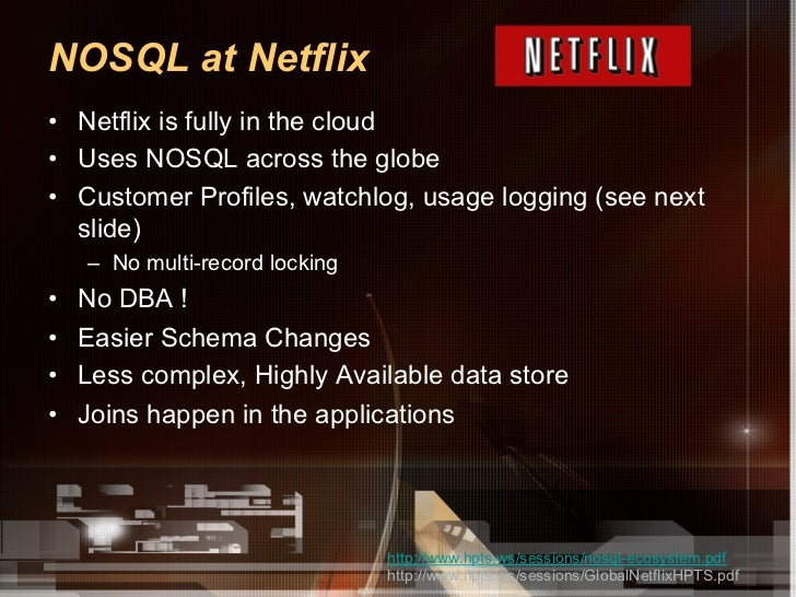 NOSQL at Netflix• Netflix is fully in the cloud• Uses NOSQL across the globe• Customer Profiles, watchlog, usage loggin...