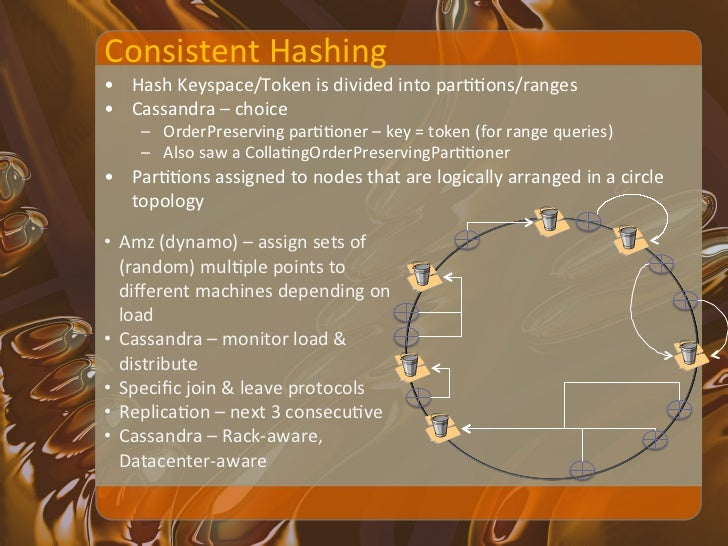Consistent Hashing -‐ Hinted-‐handoff • What happens when a node is not available ?     – May...