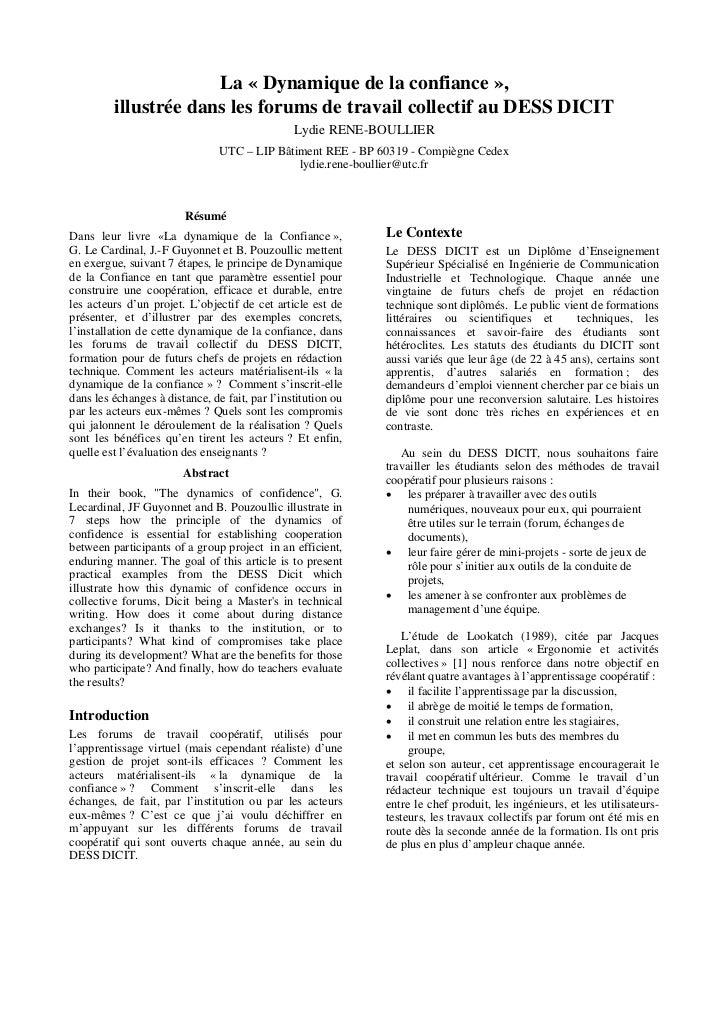 La « Dynamique de la confiance »,         illustrée dans les forums de travail collectif au DESS DICIT                    ...
