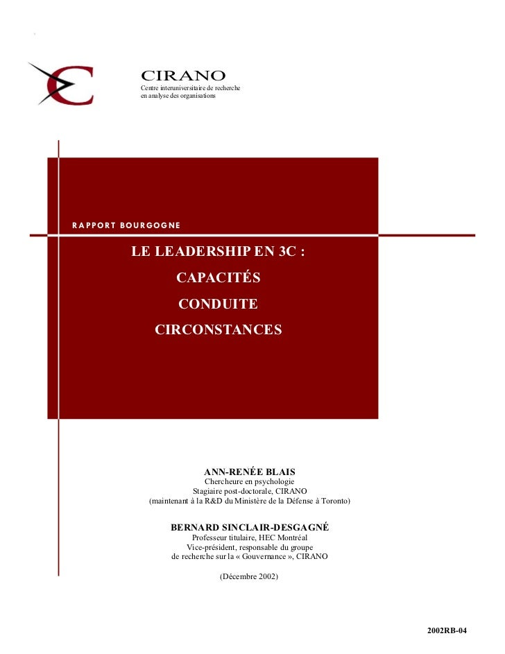 CIRANO                     Centre interuniversitaire de recherche                     en analyse des organisations        ...