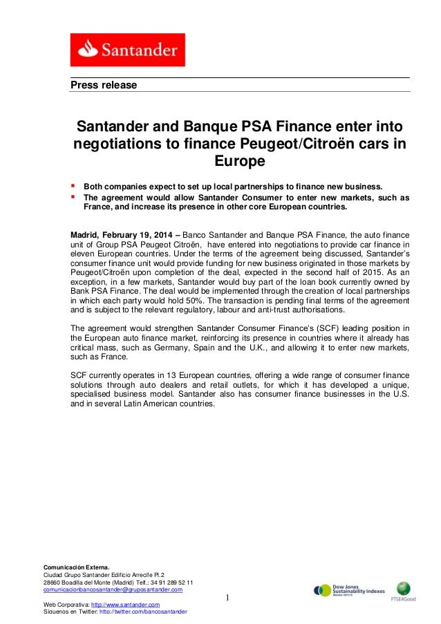 Press release  Santander and Banque PSA Finance enter into negotiations to finance Peugeot/Citroën cars in Europe    Bot...