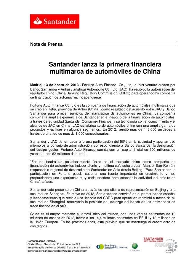Nota de Prensa                  Santander lanza la primera financiera                  multimarca de automóviles de China ...