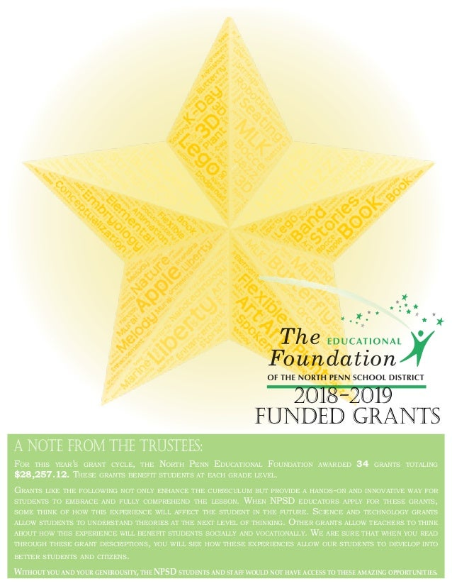 For this year's grant cycle, the North Penn Educational Foundation awarded 34 grants totaling $28,257.12. These grants ben...